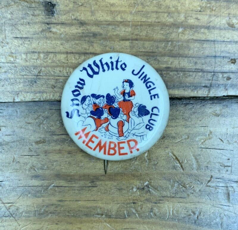 """1930s SNOW WHITE JINGLE CLUB 1.25"""" pinback button (B146)"""