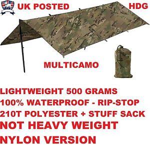WATERPROOF BRITISH ARMY BASHA - SHELTER TENT BIVI TARPAULIN TARP MTP MULTICAM