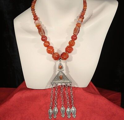 Antique Collectible Tekke Turkoman Gilded Pendant, Carved Carnelian Necklace