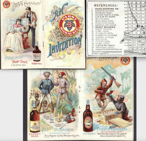 Pabst Brewing 1893 Expo Map Delong Arctic Africa Beer Bottle Booklet Advertising