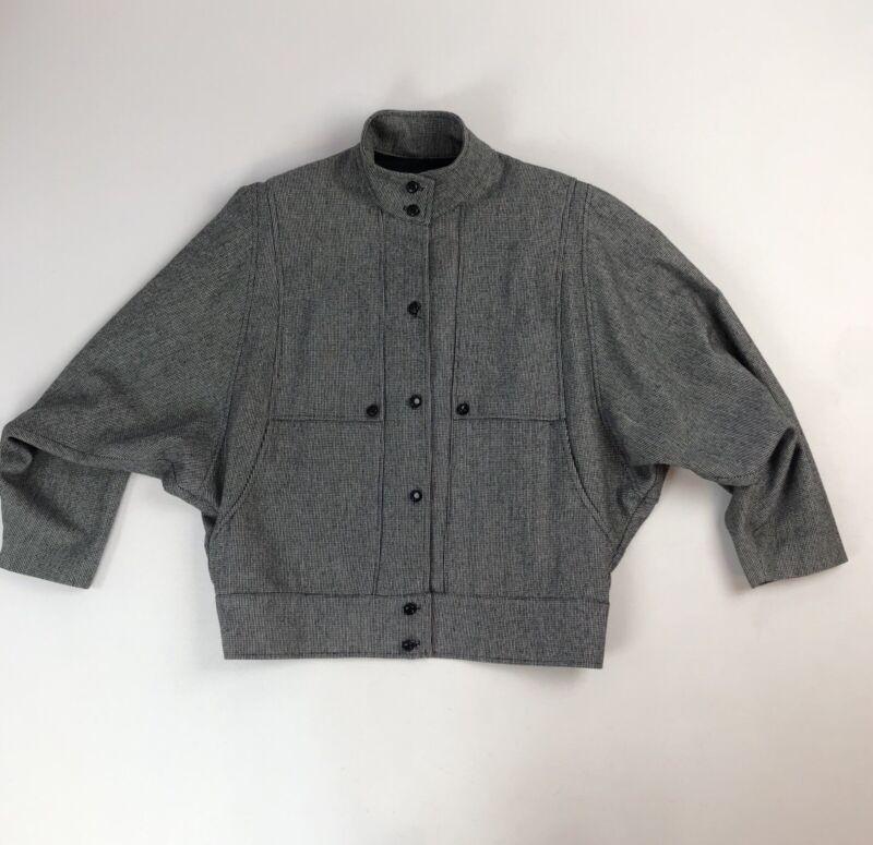 Vtg 80s 90s Blk/Wht Checked Blazer Jacket Batwing Sleeve Sz 12 High Collar