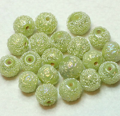 20 FANCY INDIAN 10mm ROUND GLASS BEADS GREEN/SUGAR FROSTED/AB (BBB602)