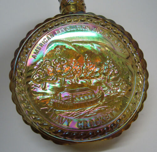 Davy Crockett Bottle Yellow Carnival Glass Tommy Train Boat Horse Wheaton Craft