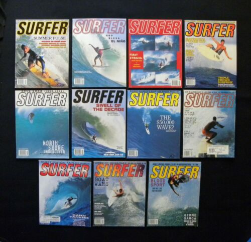 SURFER MAGAZINE 1998 VOL 39 LOT OF 11 ISSUES SURFER LONGBOARDING  HAWAII
