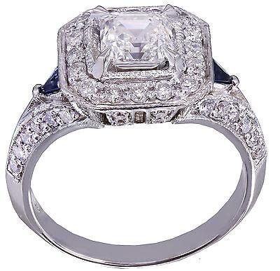 GIA F-VS2 18k White Gold Asscher Cut Diamond Engagement Deco Halo Ring 1.45ctw 8