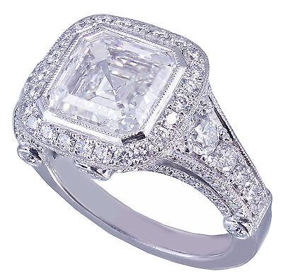 GIA I-VS2 18k White Gold Asscher Cut Diamond Bezel Engagement Ring Deco 3.30ctw 1