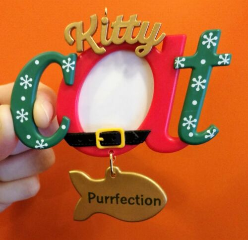 "HALLMARK KITTY CAT ""PURRFECTION"" 2018 PERSONALIZED HOLIDAY CAT ORNAMENT - NEW"