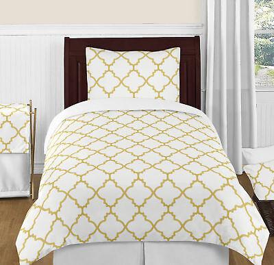Girls Twin Bedding Sets - Luxury Metallic Gold And White Trellis Twin Size Girl Teen Bedding Comforter Set
