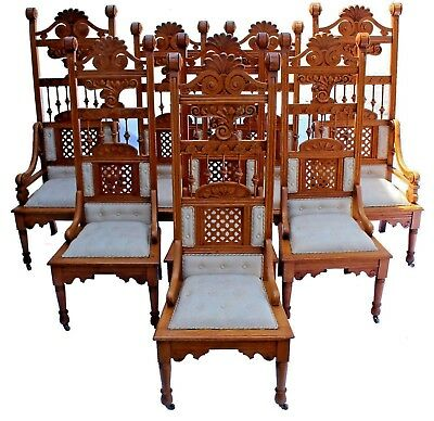 Vintage Reprod  Renaissance Revival Style Throne Dining Chairs  Set Of 8