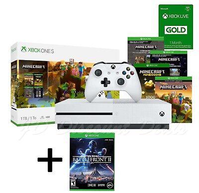 Xbox One S 1TB Minecraft God Console Bundle & Star Wars Battlefront II Game