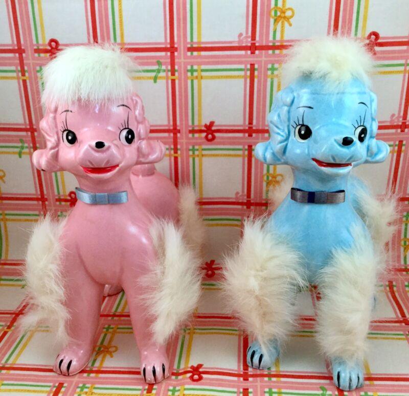 Vintage Kitsch Poodle Dog Figurine Set Pink & Blue Fur Kitschy Furry Japan DABS