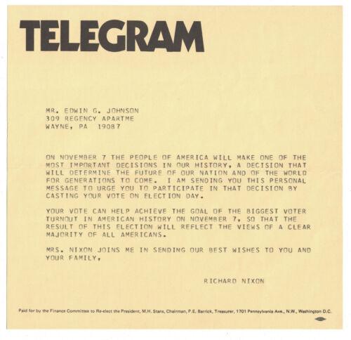 """Richard M Nixon 1972 Campaign Fundraising """"Telegram"""""""