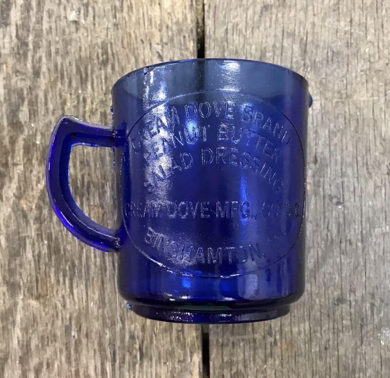 Cobalt Glass CREAM DOVE BRAND, Binghamton, NY, 1 Cup/8 oz. Measuring Cup