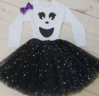 Baby Ghost Costume Girls 1st Halloween Tutu Outfit Gift Cake Smash Bodysuit VEST - Baby's First Halloween Costume