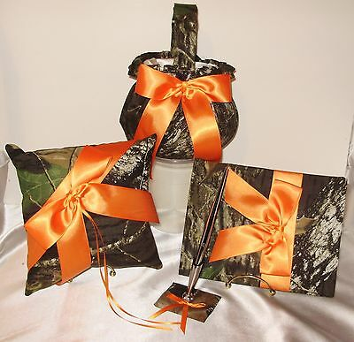 Ribbon Guest Book - MOSSY OAK GUEST BOOK,PEN, FLOWER BASKET, PILLOW CUSTOM RIBBON COLORS