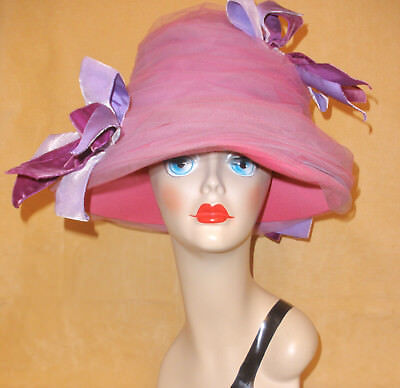 Over the Top Pink Tulle Beehive Hat w/ Purple & Lavender Bows by MMe. Poswolsky