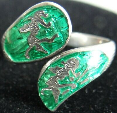 1940s Jewelry Styles and History Vtg Siam Sterling Ring Silver 925 Niello Bypass Wrap Green Enamel 1940s Size 9 $49.99 AT vintagedancer.com