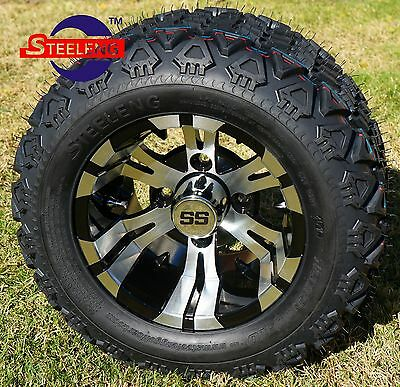 "GOLF CART 10"" VAMPIRE WHEELS/RIMS and 18""x9""-10"" DOT ALL TERRAIN TIRES (4)"