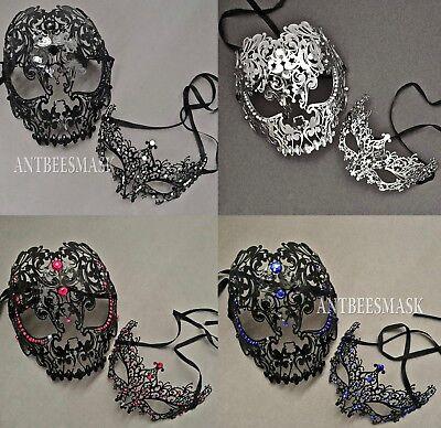 Halloween Evening Festival Horror Metal Skull & Eye Couple Costume Masks