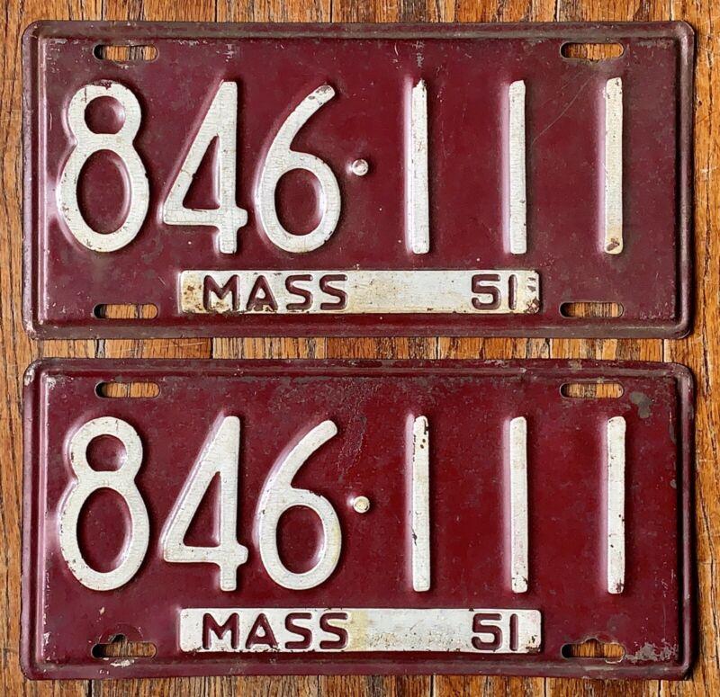 VINTAGE PAIR 1951 51 MASSACHUSETTS MA LICENSE PLATES # 846-111