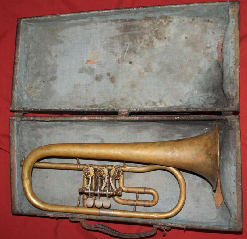 Antique German Weltklang Brass Flugelhorn with case
