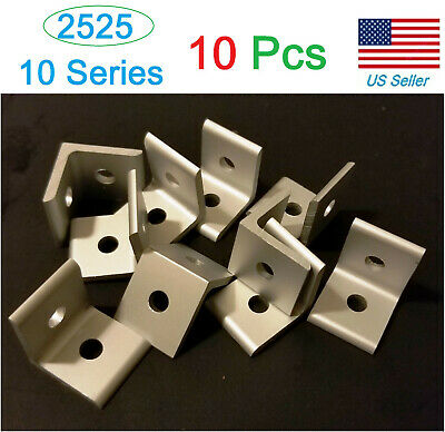 Pack Of 10 Pcs T-slot Aluminum 2 Hole Inside Corner Bracket 10 Series 2525