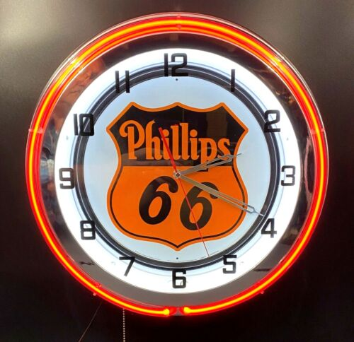 """18"""" PHILLIPS 66 Sign Gasoline Motor Oil Gas Station Double Neon Clock"""