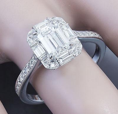 GIA G-VS2 14k White Gold Emerald Cut Diamond Engagement Ring Deco Halo 1.60ctw 8
