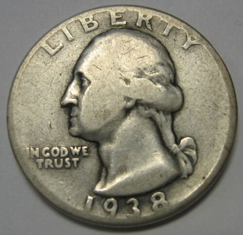 1938 Washington Silver Quarter in Lower Grade Condition Priced Right FREE S&H