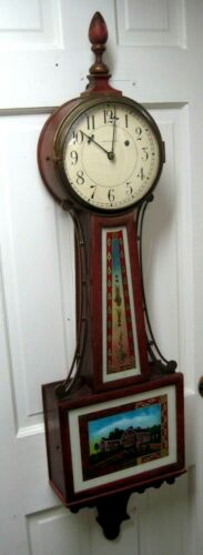 VINTAGE WALTHAM WEIGHT DRIVEN BANJO CLOCK- CIRCA 1920- WAYSIDE INN PAINTED GLASS