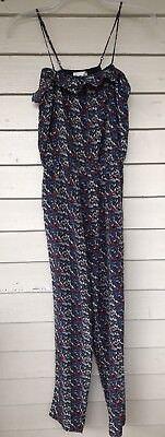 SEA New York Jumpsuit Size 6 Blue Bird Print Silk Spaghetti Straps