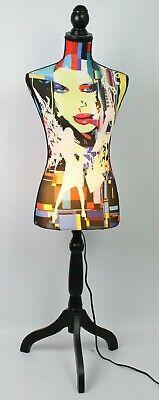 Decorative Colorful Dress Form Mannequin Lamp Wooden Tri-pod Strand 60s Theme