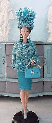 OOAK Handmade Silkstone Barbie Clothes Hand Knit Jacket and  Aquamarine Jewelry