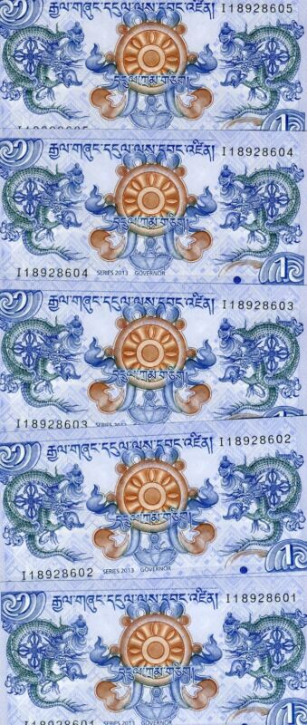 LOT Bhutan, 5 x 1 Ngultrum, 2013 P-New, UNC