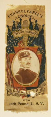 VINTAGE PENNSYLVANIA STATE TREASURER CAMPAIGN RIBBON 1899 LT COL JAMES BARNETT