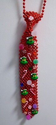 The Grinch Who stole Christmas Ugly Sweater Red Neck TIE Handcrafted USA Nora's