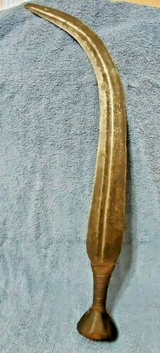 """Antique Central African curved sword Kuba Ngbandi double edged 24"""" 1800"""