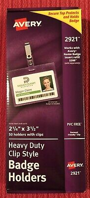50 Avery Heavy-Duty Clip-Style Badge Holders Landscape 2.25