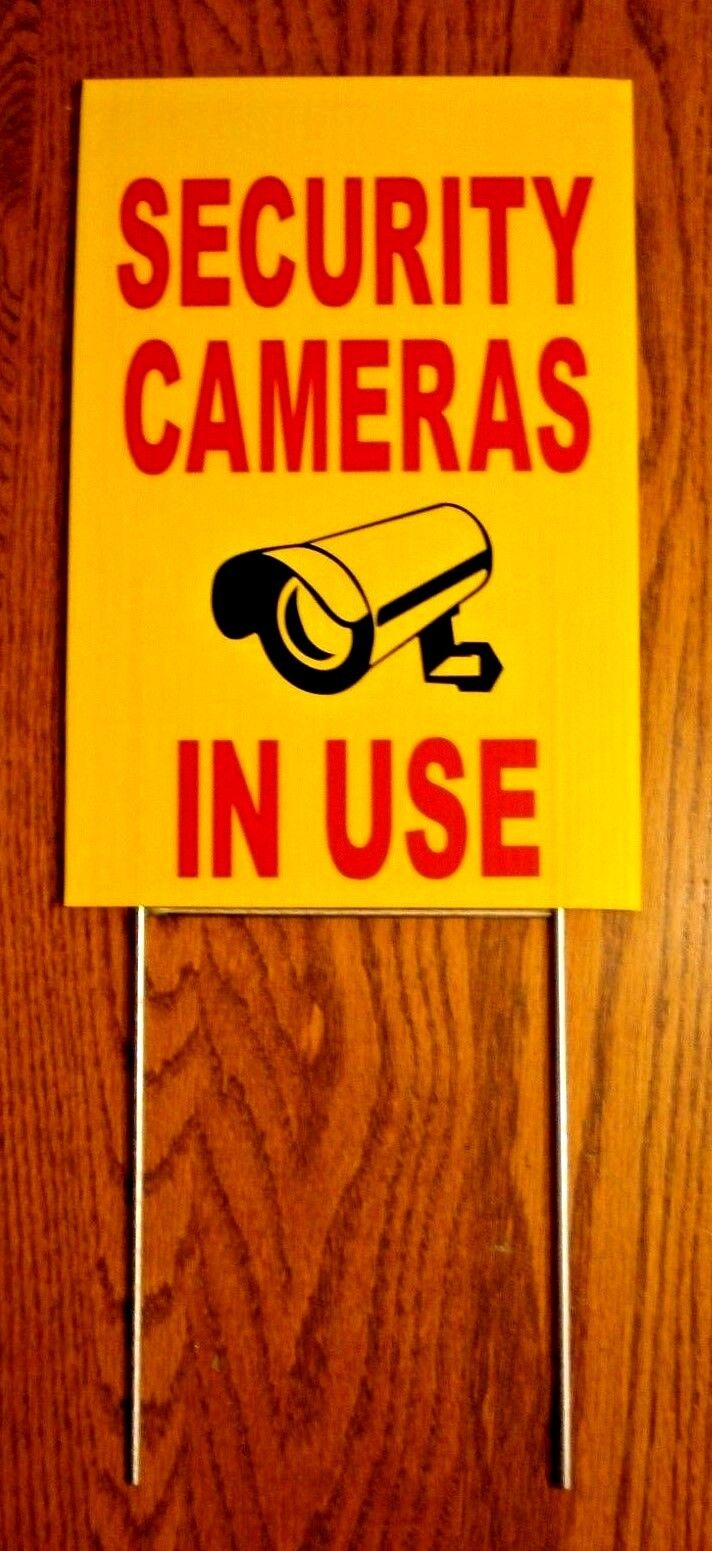 SECURITY CAMERAS IN USE Coroplast  YARD SIGN 8x12  w/ Stake