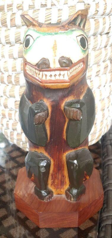 Patrick Seale Wood Carved Bear Made In Alaska Signed