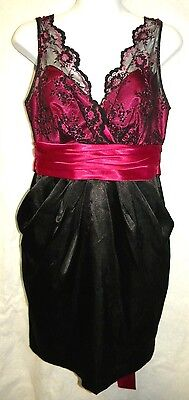Love Tease Sexy Juniors Size 9 Black And Fuchsia Satin And Lace Dress