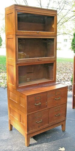RARE 1914 GLOBE WERNICKE Stacking Barrister Tiger Oak Bookcase File Cabinet