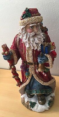 """10 1/4"""" Resin Santa Carry Gift Bag & Holding A Stick & A Bell Figurine By Jamie"""