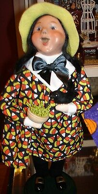 Jb Halloween (Byers Choice Halloween Factory Witch Girl w/Crow Mint VHTF '08 Signed JB)