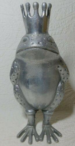 "Vintage metal 11"" FROG PRINCE Statue Figure large fairy toad king sculpture"