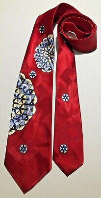 1940s Mens Ties | Wide Ties & Painted Ties VINTAGE 1940'S-50'S WEDGEFIELD ATOMIC SEGMENTED SPHERES ART DECO TIE NECKTIE  $16.50 AT vintagedancer.com