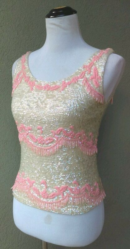 VINTAGE 1960's Iridescent Sequined Sleeveless Knit Top with Pink Beading Sz M