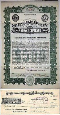 St. Francois County Railway Company. Missouri -  Bond + Check set!