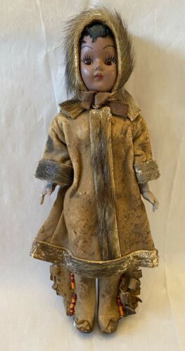 Antique/Vintage Native American Doll Celluloid Movable Eyes Leather Fur Hat