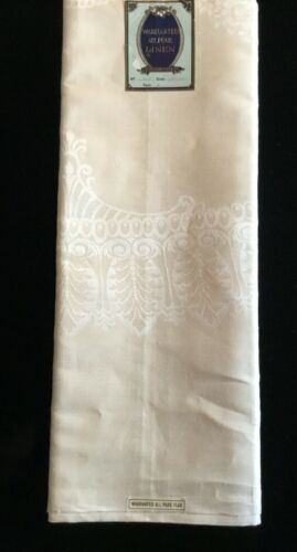 "Antique Art Nouveau Style Pattern IRISH DAMASK LINEN TABLECLOTH 70"" x 70"" UnUsed"
